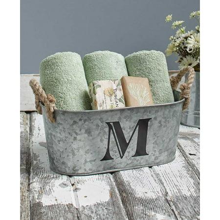 Galvanized Monogram Bucket M - Mini Galvanized Buckets
