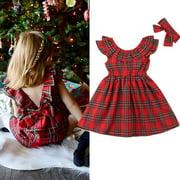 Xmas Baby Girl Princess Dress Kids Bow Checked Tutu Party Wedding Dress