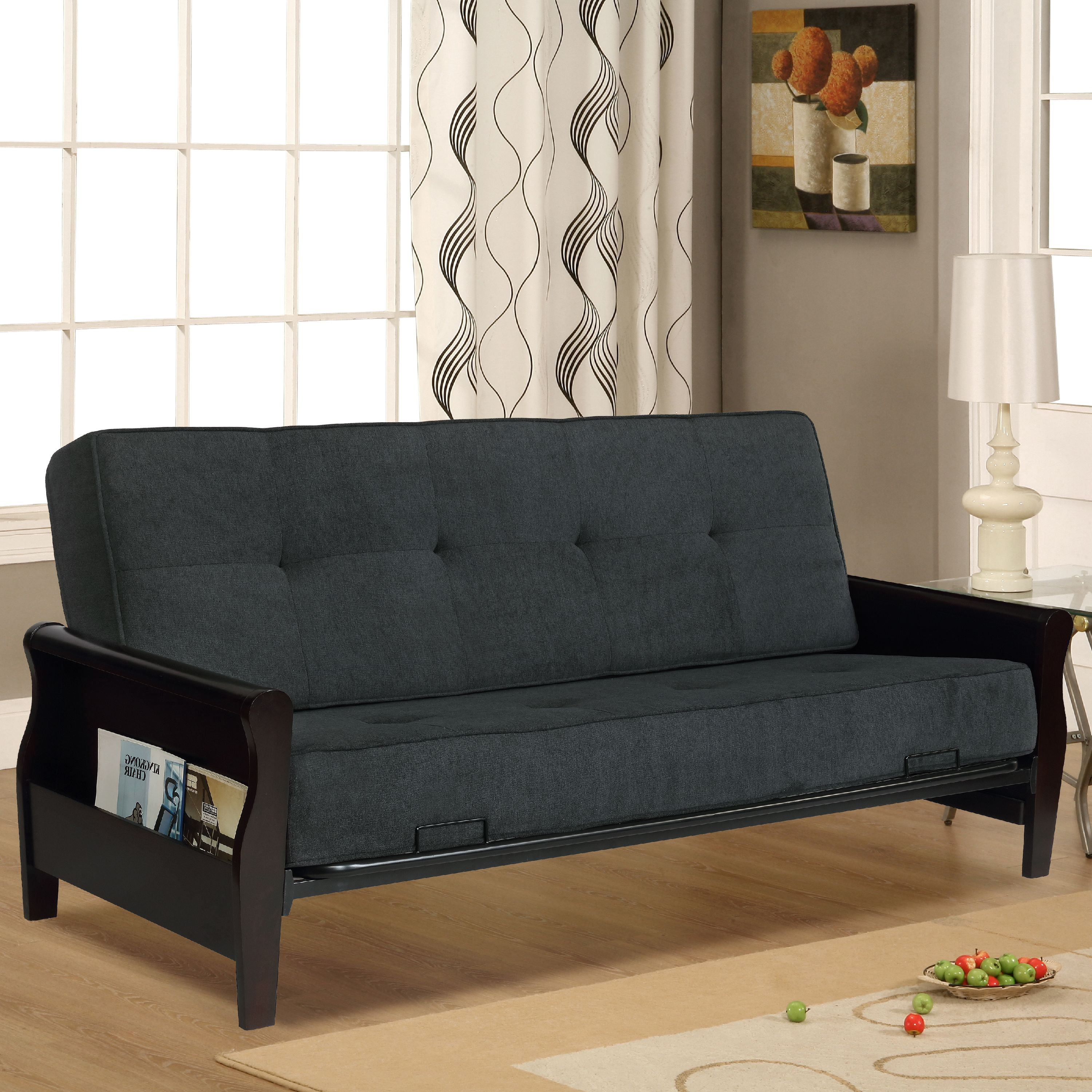 Lounger Conway Wood Storage Arm Futon