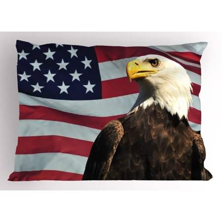 Eagle Pillow Sham United States of America Flag with Symbol of the Country Looking into the Horizon, Decorative Standard King Size Printed Pillowcase, 36 X 20 Inches, Multicolor, by -