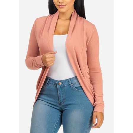Womens Juniors Classic Stretchy Long Sleeve Open Front Round Hem Mauve Cardigan 20741K (Long Sleeve Cardigan For Juniors)