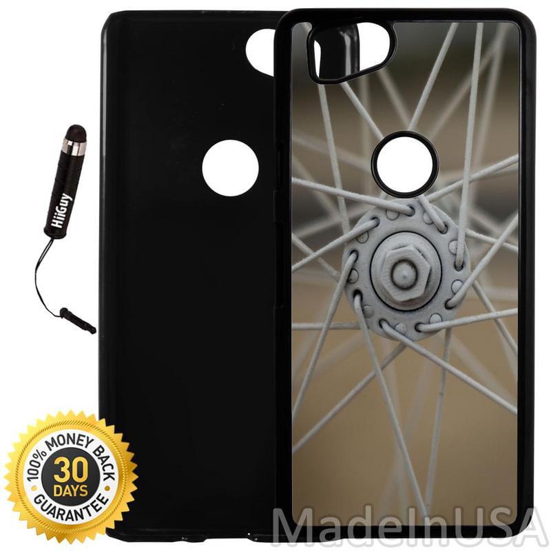 Custom Google Pixel 2 Case (Bike Wheel Spokes) Plastic Black Cover Ultra Slim   Lightweight   Includes Stylus Pen by Innosub