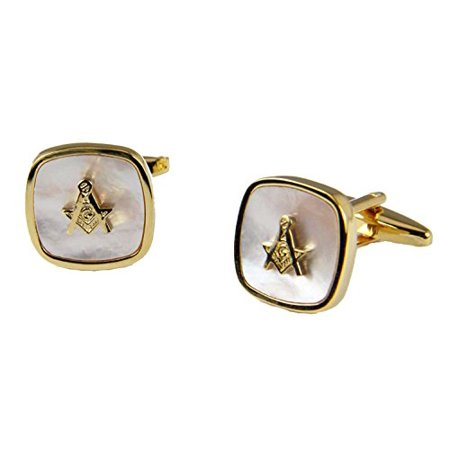 Shrine & Mason Products Mason Mother of Pearl Cufflinks Masonic Cuff Links Freemason Set Pair Square Compass