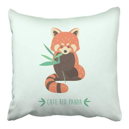 ARHOME Brown Animal Cute Red Panda Orange Animal Cartoon Asia Bear Cartoon Character Pillowcase Cushion Cover 16x16 inch