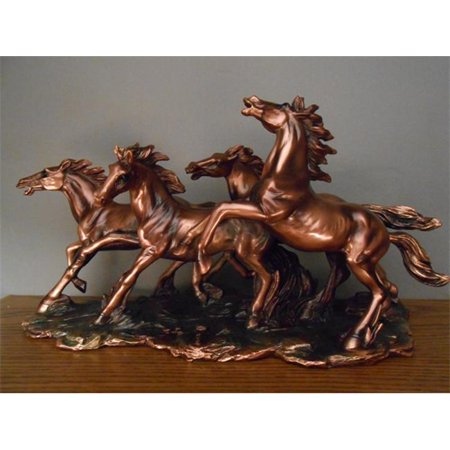 Marian Imports F53150 Four Wild Horses Bronze Plated Resin Sculpture