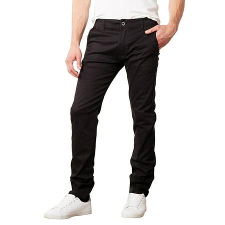 Mens Cotton Chino Pants Slim Fit Casual Stretch Slim Chino Trouser