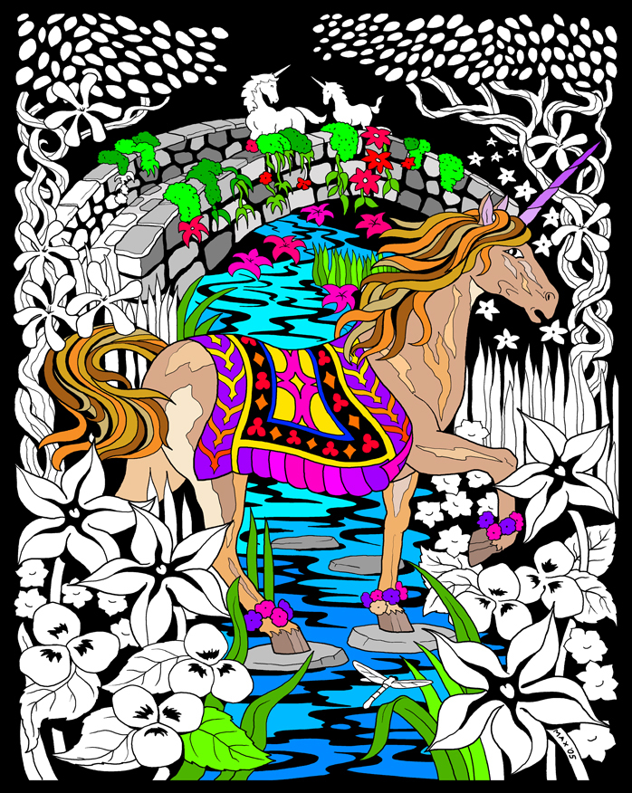 Unicorn Bridge - Fuzzy Velvet Coloring Poster 16x20 Inches - Walmart.com -  Walmart.com