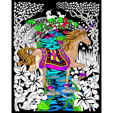 Unicorn Bridge - Fuzzy Velvet Coloring Poster 16x20 Inches