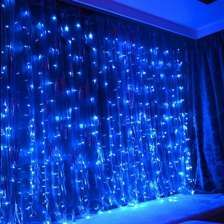 TORCHSTAR 9.8ft x 9.8ft LED Curtain Lights, Starry Christmas String Light, Indoor/Outdoor Decoration for Festival, Wedding, Party, Living Room, Bedroom, Blue ()