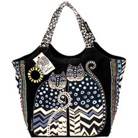 Large Scoop Tote Zipper Top 19X8.5X12.5-Spotted Cats