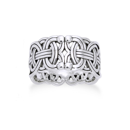 Viking Braided Wedding Band Borre Knot Norse Celtic 10mm Sterling Silver Ring