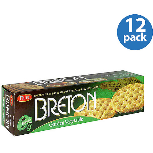 Dare Breton Garden Vegetable Crackers, 8 oz, (Pack of 12)