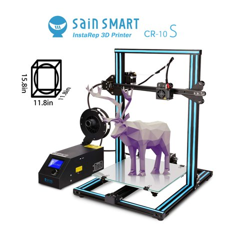 SainSmart x Creality CR-10S Semi-Assembled 3D Printer, Upgraded Dual Z Axis  T Screw Rods, Filament Monitor, Resume Printing, Large Build Volume