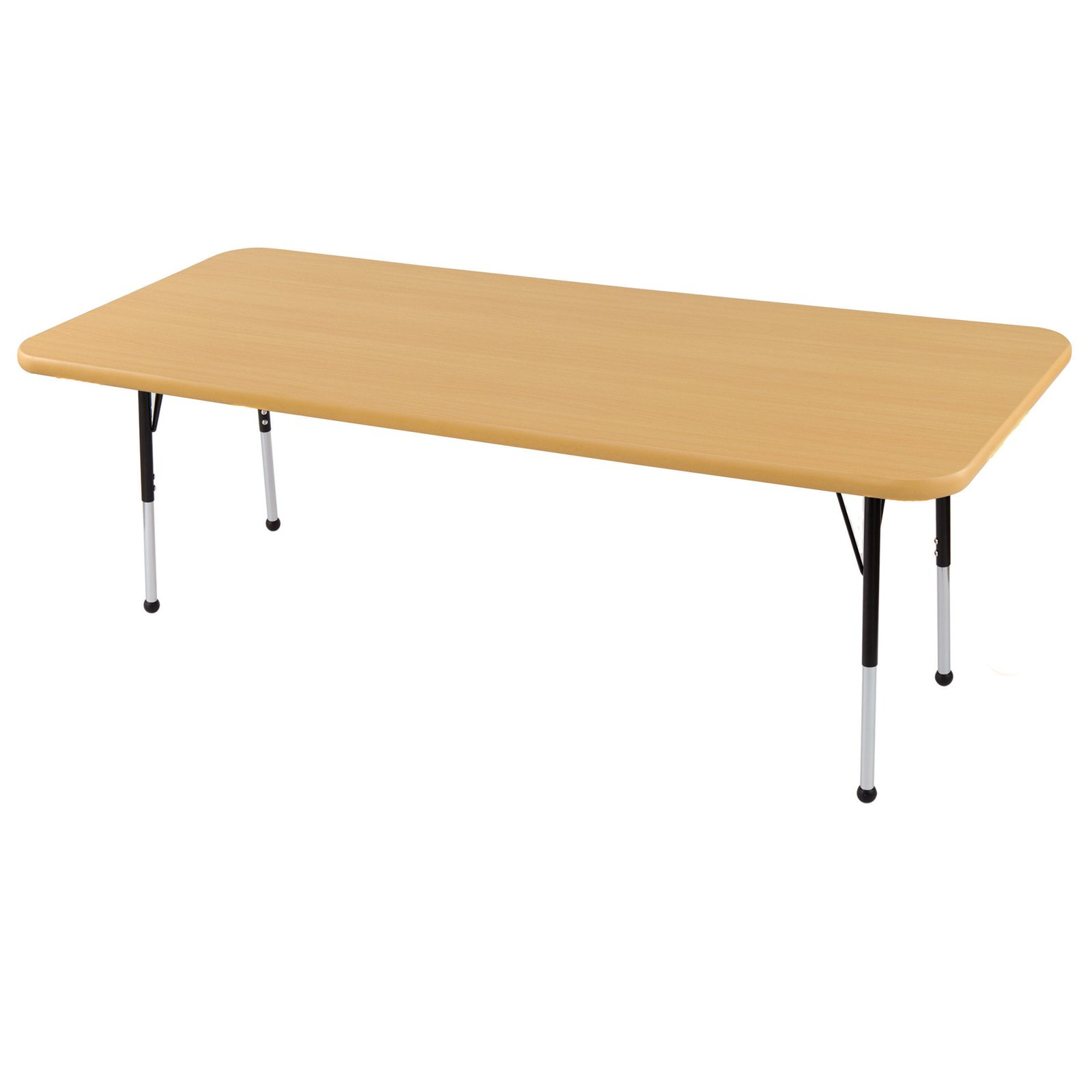 Rectangular Activity Table in Maple and Red (Toddler: 72 in. W x 24 in. D x 15 in. - 23 in. H)