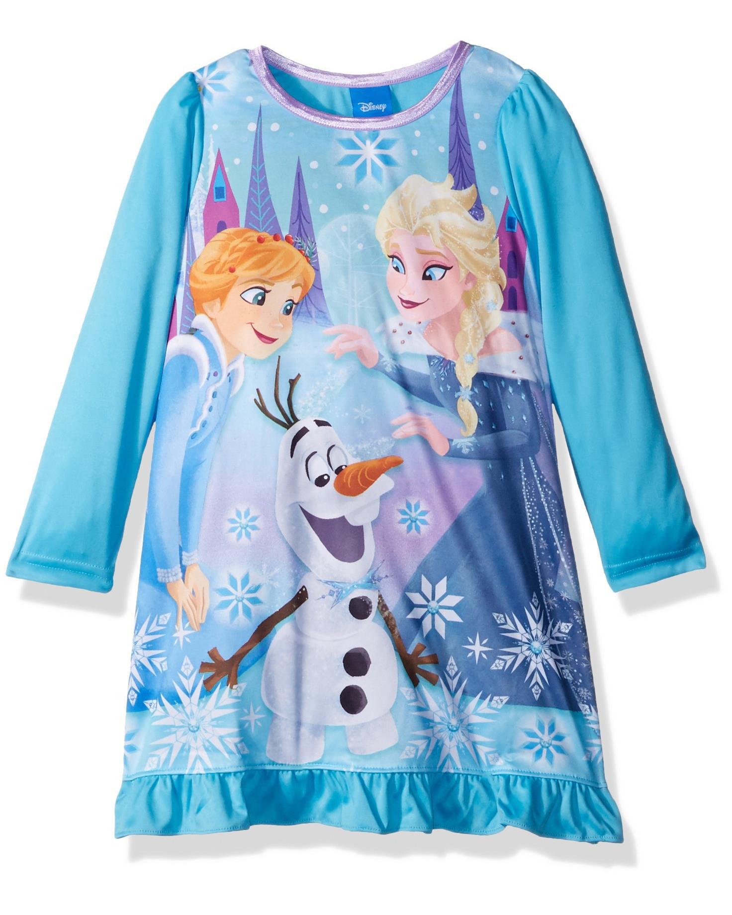 Disney Girls' Frozen Nightgown, Blue, Size: 6