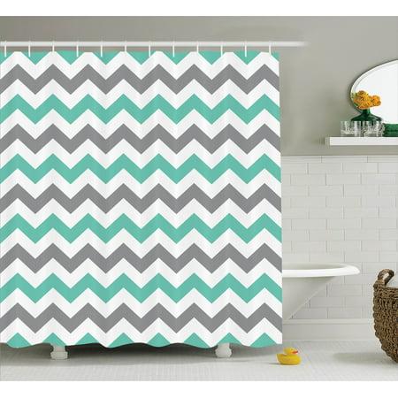 Chevron decor shower curtain set chevron pattern for Zig zag bathroom decor