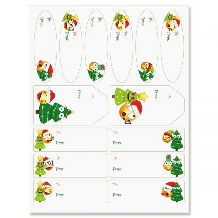 Christmas Emoji GiftLabels- Set of 42 of Gift Labels in 3 Shapes and Sizes