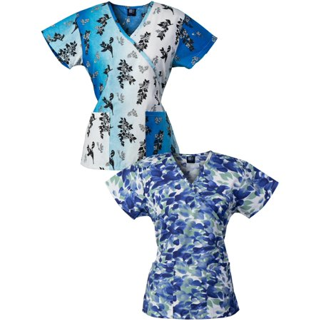 Medgear 2 Pack Womens Fashion Scrub Tops Mock Wrap Style With Back