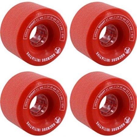 Bogart Red Skateboard Wheels - 61mm 82a (Set of 4), One (1) set of 61mm Arbor Skateboards Bogart Skateboard Wheels; includes four (4) wheels By Arbor Skateboards