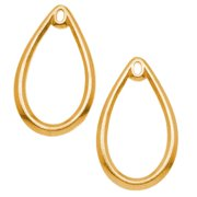 22K Gold Plated Teardrop Chandelier Earring Findings With Center Loop 33.5mm (2)