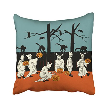 WinHome Vintage Early 1900s Halloween Spooks On Parade Throw Pillow Covers Cushion Cover Case 20x20 Inches Pillowcases Two Side - Halloween Parade Miami Beach