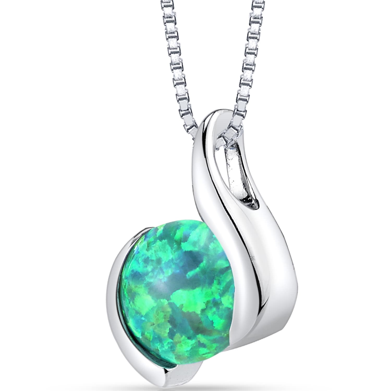 Oravo Sterling Silver and 1.50-carat Created Green Opal Iris Pendant Necklace by Overstock