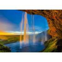 Canvas Print Water Stream Pool Cascade Iceland Waterfall Falls Stretched Canvas 10 x 14