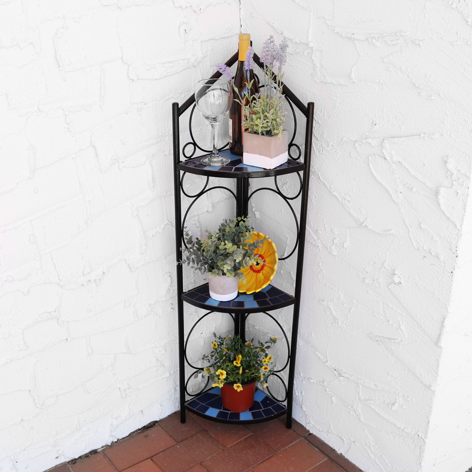 Sunnydaze 3-Tier Mosaic Tiled Corner Display Shelf/Stand Planter, 44 Inch Tall, Blue