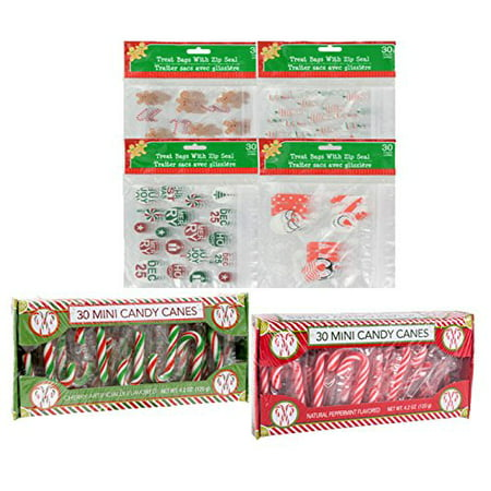 Festive Holiday Inspired Christmas Zip-Seal Treat Bags 5-7/8x5¾