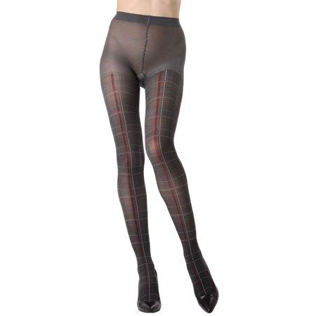 MeMoi Pretty in Plaid Opaque Tights   Womens Hosiery-Pantyhose M/L / Dark Gray MTO02209