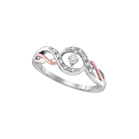 Sterling Silver Womens Round Diamond Solitaire Bridal Wedding Engagement Ring 1/10 Cttw](Silver Diamond)