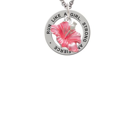 Hibiscus Flower Necklace (Silvertone Hot Pink Hibiscus Flower Run Like A Girl Affirmation Ring)