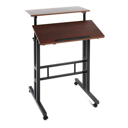 Qwork Wheel Mobile Stand up Computer Desk Height Adjustable Cart Tilting Table with Dual Surface Sit-Stand Desk Home Office Computer Workstation Ergonomic Desk, Red Walnut