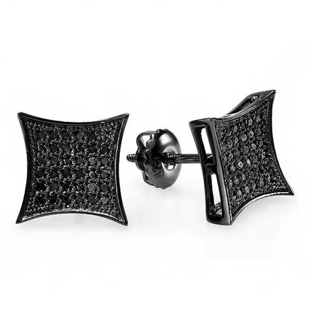 0 13 Carat  Ctw  Black Rhodium Plated Sterling Silver Black Real Diamond Kite Shape Mens Hip Hop Iced Stud Earrings