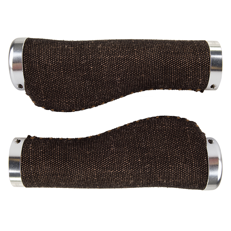 Sunlite Bicycle Canvas Ergo Lock-On Handlebar Grips Black/Brown 22.2mm Bar Clamp