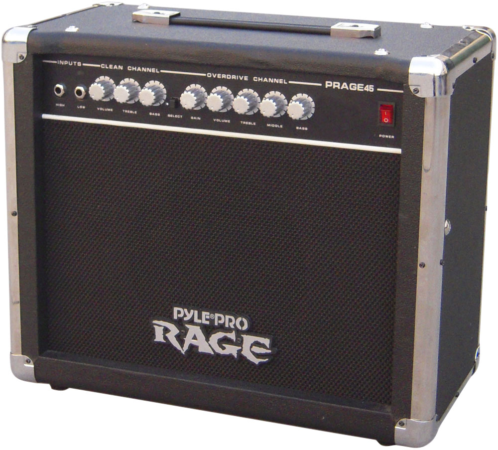 Pyle 45 Watt Rage-Series Electric Guitar Amplifier With Overdrive (prage45)