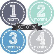 Months in Motion Baby Monthly Stickers - Baby Milestone Stickers - Newborn Boy Stickers - Month Stickers for Baby Boy - Baby Boy Stickers - Newborn Monthly Milestone Stickers - Set of 36