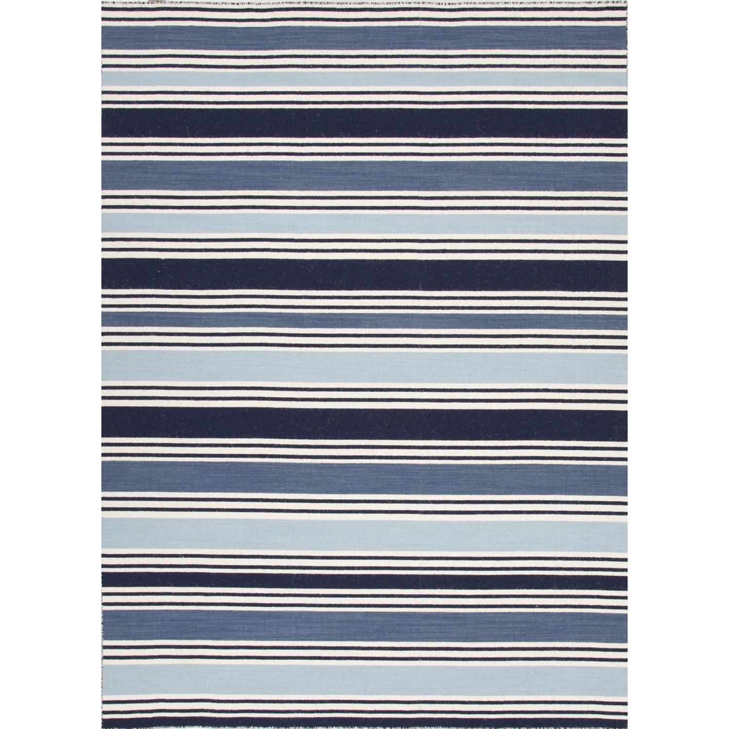 2' x 3' Navy Blue, Baby Blue and White Salada Flat-Weave Striped Wool Area Throw Rug