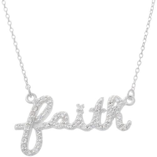 "Women's CZ Sterling Silver ""Faith"" Pendant, 18"""