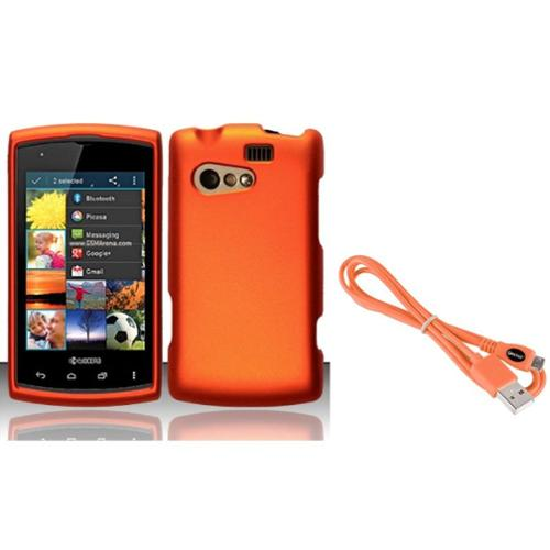 Insten For Kyocera Rise C5155 Rubberized Cover Case - Orange (with USB Cable)