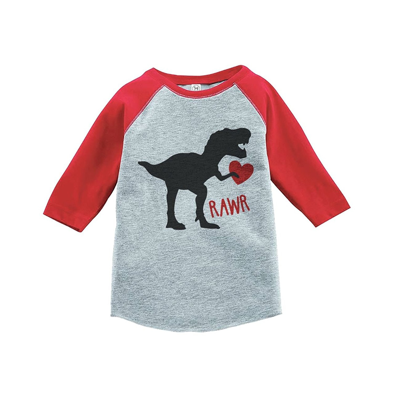 Custom Party Shop Kids Dinosaur Happy Valentine's Day Red Raglan - XL Youth (18-20) T-shirt