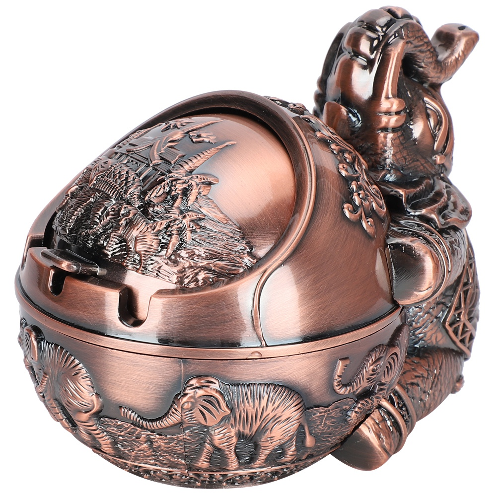Vintage Ashtray Zinc Alloy Windproof Ashtray Innovative Elephant Styling Embossed Ornaments for Home Hotel Office Wedding Gift 4.3 X 4.9In