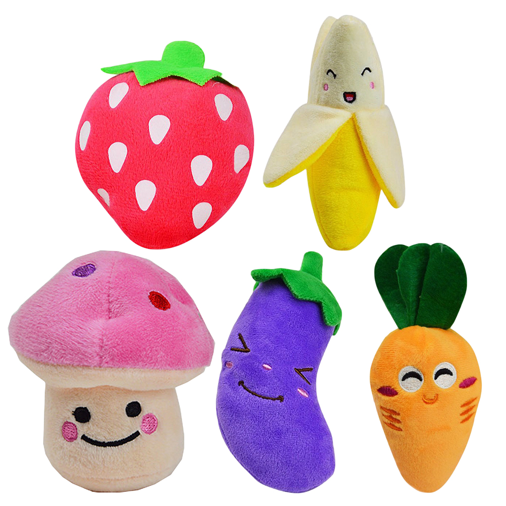 5pcs Squeaky Dog Toys for Small Dogs Fruits and Vegetables Plush Puppy Dog Toys (Carrot & Banana & Eggplant & Strawberry & Mushroom)