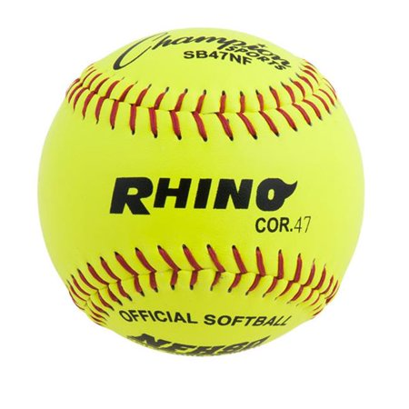 Champion Sports SB47NF 12 in. Leather Cover Poly Softball, Optic Yellow & Red - image 1 de 1