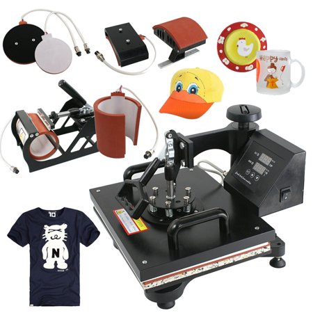 Zeny 5 in 1 Swing Away Heat Press Machine Digital Transfer For T-Shirt/Mug/Plate Mug Hat Plate Cap