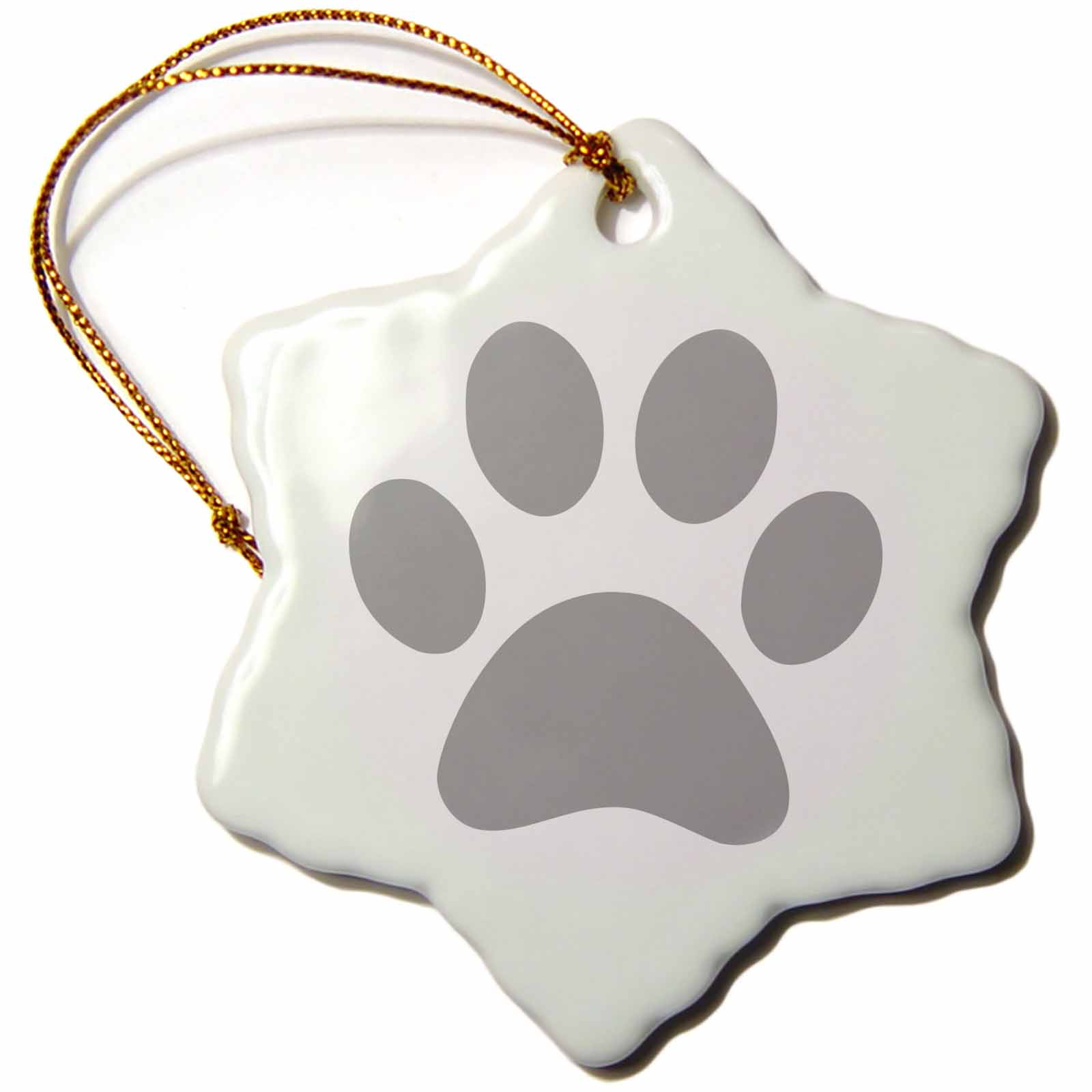 Image of 3dRose Grey paw print on white - gray animal pawprint - cute cartoon animal footprint - dog cat foot print, Snowflake Ornament, Porcelain, 3-inch
