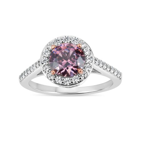 7mm Pink Round Swarovski CZ Sterling Silver Two-Tone Rhodium and 18kt Rose Gold-Plated Filigree Shank Halo Ring Round Filigree Base