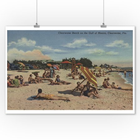 Clearwater  Fl   Sunbathers On Clearwater Beach  9X12 Art Print  Wall Decor Travel Poster