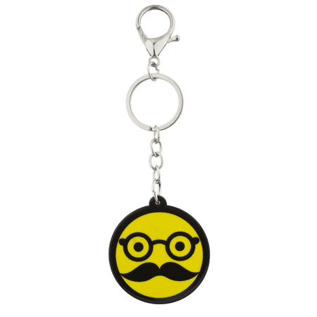 Lux Accessories Yellow Glasses and Mustache Disguise Emoji Bag Charm Keychain