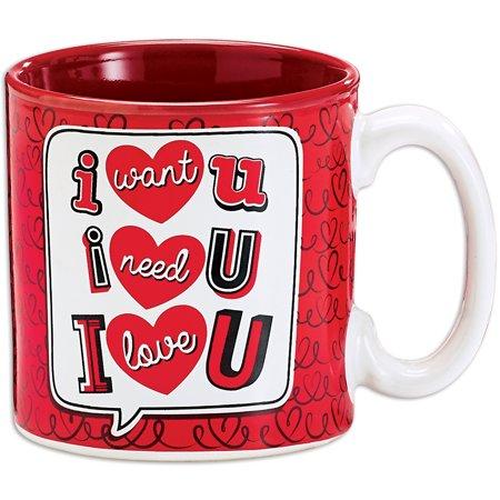Verde Glaze Ceramic - Valentines Day - I Love U 2 Sided Design Glazed Ceramic Mug - Holds 13 Ounce